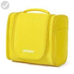 LYCEEM 3 Space Large Travel Toiletry Bag for Men & Women Yellow - Hanging Toiletries Kit for Makeup, Cosmetic, Shaving, Travel Accessories - Dont forget to travel (*Amazon Partner-Link)