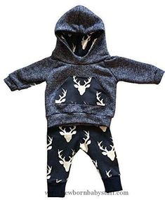 Baby Boy Clothes Aliven Toddler Infant Baby Boys Deer Long Sleeve Hoodie Tops Sweatsuit Pants Outfit Set #babyboyhoodies #babyboylongsleeve #babyboyoutfits #toddleroutfits