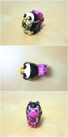 Here's Gunter strapped to his dear Kitten complete with his blingin' demonic wishing eye. As seen in the Adventure Time episode 'Reign of Gun. Gunter and Kitten Cute Polymer Clay, Cute Clay, Polymer Clay Miniatures, Polymer Clay Charms, Adventure Time Cartoon, Adventure Time Anime, Clay Art Projects, Clay Crafts, Adventure Time Wallpaper