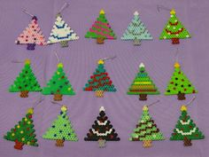 Christmas tree ornaments perler beads by Dragonistic