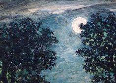 After Ralph Albert Blakelock Canoe in Moonlight Closeup Moon