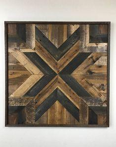 Handmade Reclaimed Pallet Wood Wall Art 36 5/8 x 36