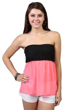 Deb Shops strapless top with black #lace bodice and #neon chiffon bottom $14.17