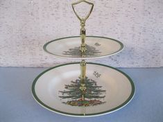 Double Tier Christmas Tree Tray by Spode by fiordalis on Etsy