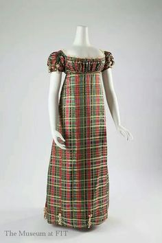 An unusual plaid silk tartan Regency dress, c.1812 from Museum at FIT. Sharing for our Day 29: Unusual #sharinghistorical