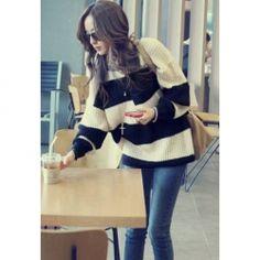 $10.78 Stylish Scoop Neck Stripe Pattern Warm Knitting Long Sleeve Wool Blend Sweater For Women
