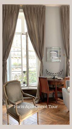 Studio Apartment Divider, Studio Apartment Layout, Small Studio Apartments, Studio Apartment Decorating, Paris Apartments, Apartment Ideas, Curtains Living, Living Room Windows, Living Room Decor