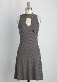 Sporty, Swing My Way Dress - Black, White, Stripes, Print, Work, A-line, Sleeveless, Summer, Knit, Good, Mid-length, Casual, Sundress, Fall, Winter