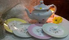 The cutest  retro tea set polka dot teapot with set of 4 Harlequin tea plates