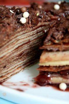 Gâteau d'anniversaire facile Mille crêpes cara-copie-2 Mille Crepe, Crepes, Pancakes, Meat, Breakfast, Desserts, Cake Chocolat, Food, Raspberries