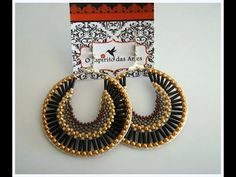 Beaded hoop earrings with bugles, delicas and seed beads - Beading Tutorial - YouTube
