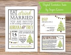 Winter State Fair Digital Invitation Suite by Sugar Queens // Includes Invitation, Insert, and your choice of traditional or postcard sized RSVP card // DIY Printable Wedding Invites Unique Tree Snow December January February Weddings