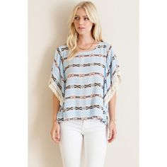 Dreamy Days Aztec Print Open Sleeve Top Invite the Dreamy Days Aztec Print top to all of your summer gatherings! You'll be the talk of the party with this lightweight, semi-sheer top with a sexy exposed back featuring crochet fringe detailing.   100% Rayon likeNarly Tops