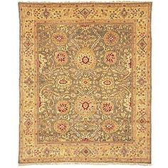 Oushak Hand-knotted Birj Green/ Gold Wool Rug (8' x 10') | Overstock.com Shopping - The Best Deals on 7x9 - 10x14 Rugs