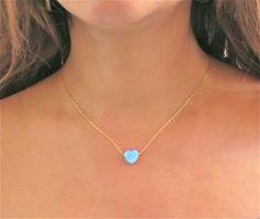Herz-Halskette Gold 14k Gold gefüllt Kette blaues Herz