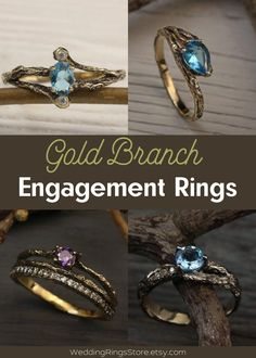 Gold braided branch engagement rings by WeddingRingsStore. White and Yellow Wedding bands with stones - Citrine, Diamond, Emerald, Ruby, Sapphire, Topaz, Amethyst, Garnet, Peridot or Cubic Zirconia of different color. Vintage style wedding rings in white and yellow gold 14K. Tree engagement and wedding gemstones rings for mens and womens #jewellery #goldjewelry #jewelry #weddingring