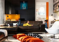 how to dress a brown leather sofa with colour - Google Search