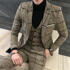 3pcs(Blazer+Vest+Pant) Men Suits Korean Plaid Casual Blazer Jacket Coat Men Spring Autumn Dress Slim Fit Mens Suit Clothing