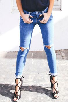 Denim Ripped Knee Jeans – Style Addict