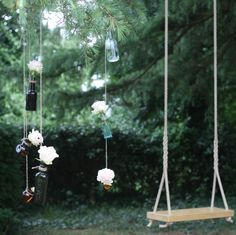 Hanging Bottles From Trees ~ Wedding Flowers