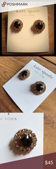 NWT kate Spade Earrings Kate Spade circular earrings with tortoise stones in the middle and glass stones on the outside in a gold setting. These were going to be a gift so the price was removed, but they've never been worn. kate spade Jewelry Earrings