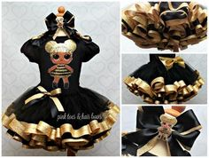 Queen bee lol surprise doll tutu set-Queen bee lol surprise outfit-Que – Pink Toes & Hair Bows 7th Birthday Party Ideas, 2nd Birthday Outfit, Surprise Birthday, 5th Birthday, Diy Doll Costume, Lol Doll Cake, Doll Birthday Cake, Black Tutu, Black Satin