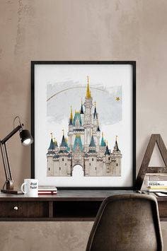 Disney Print Poster Disney castle watercolor by iPrintPoster