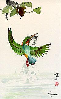 flying kingfisher by Virginia Lloyd-Davies @joyfulbrush.com
