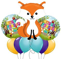 Custom, Fun & Cool 9 Pack of Helium & Air Inflatable Mylar/Latex Balloons w/ Cute Cartoon Fox Outdoor Birthday Design [Variety Assorted Multicolor in Orange, White, Blue, Green & Black] mySimple Products