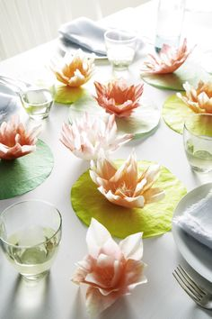 DIY coffee filter lilypads—Mother's Day or shower!