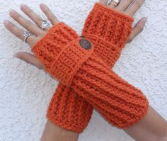 Pumpkin spice long ribbed with wrist strap by ValkinThreads, $20.00