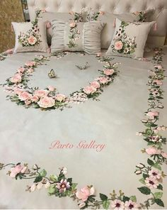 Cross stitched tablecloch with wild flowers, table decor, floral doily, hand embroidery multicolor tablecloch Ribbon Embroidery Tutorial, Embroidery Flowers Pattern, Silk Ribbon Embroidery, Hand Embroidery Designs, Embroidery Applique, Embroidery Stitches, Bed Cover Design, Designer Bed Sheets, Brazilian Embroidery