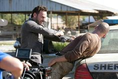 Andrew Lincoln (Rick) and Jon Bernthal (Shane) behind the scenes.