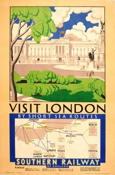 Visit London Southern Railways, 1929 - original vintage poster listed on AntikBar.co.uk