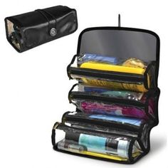 Roll Up Cosmetic Travel 4 Compartments Organizer Grooming Storage Makeup Space -- Check this awesome product by going to the link at the image.