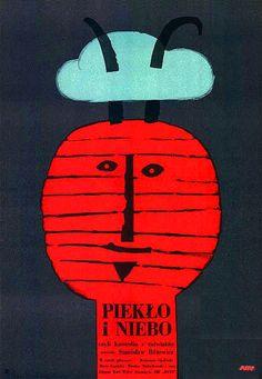 Vintage movie poster 1966 by Jerzy Flisak: Pieklo i niebo