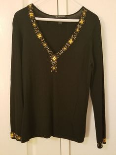 f9f36dddaaccc woman s black top with beaded neckline and wrists  fashion  clothing  shoes   accessories