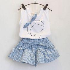 Sotida Girls Clothing Sets 2017 Brand Summer Fashion Kids Clothing Sets Sleeveless White T-shirt+Plaid Culottes Girls Suit Fashion Kids, Plaid Fashion, Style Fashion, Fashion Fabric, Fashion Black, Toddler Fashion, Lolita Fashion, Party Fashion, Fashion Fashion