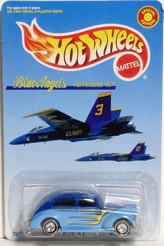 Blue Angels Fat Fendered '40 Ford Hot Wheels Limited Edition Custom Hot Wheels, Hot Wheels Cars, Blue Angels Air Show, Matchbox Cars, Diecast Model Cars, Ford, Dark Blue, Light Blue, Crazy Cars