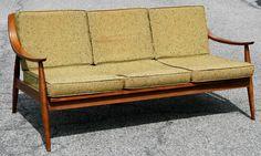 Danish Modern Sofa HANS WEGNER vtg OG cloth couch mid century eames era 50s/60s #DanishModern