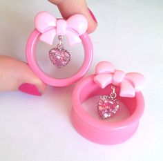 "Sarah Lorraine Designs — MADE TO ORDER 30mm (1-3/16"") - 50mm (2"") Pink bow tunnels with pink heart rhinestone drops"