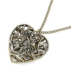 Womens Alloy Bronze Hollow Loving Heart Long Necklace with Flowers