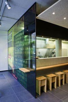 counter through glass wall