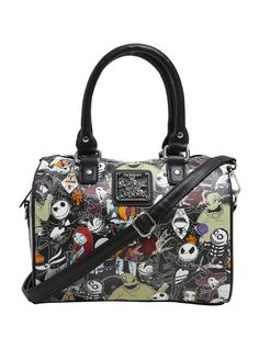 Oh, I can't believe my eyes! // LoungeflyThe Nightmare Before Christmas Character Print Faux Leather Barrel Bag