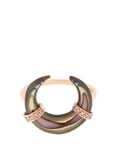Jacquie Aiche Diamond, abalone & rose-gold ring