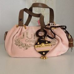 % Authentic JUICY COUTURE Handbag New without tags- soft pink velvet, gold tone hardware and leather straps and bottom Juicy Couture Bags