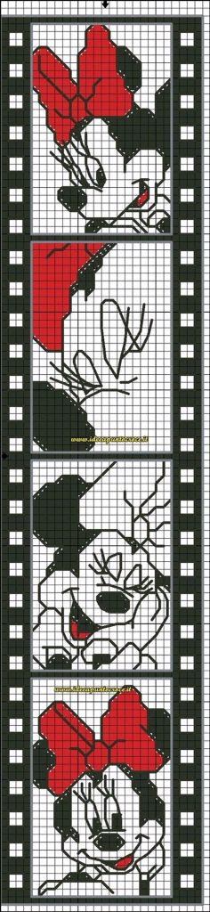 Gráfico de ponto cruz da Minie. Minnie Mouse cross stitch