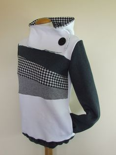 WHITE NOISE - Hoodie Sweatshirt Sweater - Recycled Upcycled - One of a Kind Women - MEDIUM. $64.00, via Etsy.