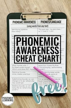Free Phonemic Awareness and Phonics Help from Positively Learning Blog #freeteachingtips #differentiation #phonemicawareness