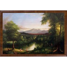 La Pastiche Thomas Cole 'View on the Catskill--Early Autumn, 1837' Hand Painted Framed Oil Reproduction on Canvas